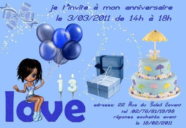 Invitation pour l'anniversaire d' Océane
